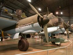 """Junkers JU 88D with a """"Fritz X"""" radio-controlled glide bomb at the United States Air Force Museum.  Two of these radio-controlled bombs were used to sink Roma on 9 September 1943. This is a public domain picture."""