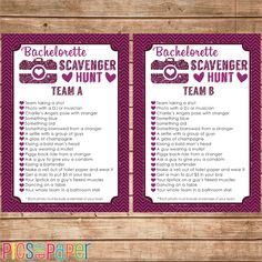 Fun bachelorette party game. Divide your girlfriends into two teams and send them off to a fun photo scavenger hunt! This design is all about the glitter! Perfect for the new bride to be!