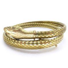 Vintage Art Deco Gold Metal Snake Bangle | Clarice Jewellery | Vintage Costume Jewellery