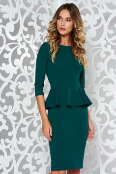 StarShinerS green office midi pencil dress from elastic fabric with frilled waist Pencil Dress, Peplum Dress, What Should I Wear Today, Green Office, Office Fashion, Green Dress, October 19, Glamour, Elegant