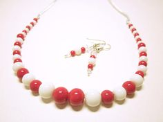 Red And White Necklace And Earrings Matching Set Women's Red Jewelry, Etsy Jewelry, Jewelry Sets, Beaded Jewelry, Handmade Jewelry, Beaded Necklace, Jewellery, Valentines Gifts For Her, White Necklace