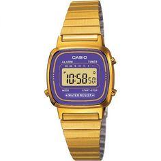 Montre casio dorée fond violet rétro pour femme - CASIO LA670WEGA-2EF