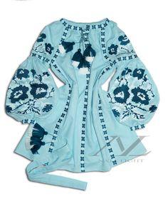 Sky blue Mini dress, Boho Style,Embroidered Flowers,Poppy Flower,Vyshyvanka,Abaya,kaftan Sizes - XS-4XL