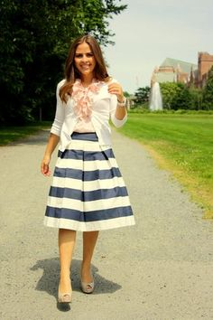 Love this stripe skirt some glasses would really finish off the sailor look! Cute Church Outfits, Cute Outfits, Church Clothes, Modest Outfits, Modest Fashion, Modest Clothing, Fashion Fashion, The Dress, Dress Skirt