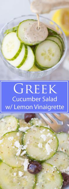 Cucumber and Feta salad w/ Lemon Greek vinaigrette: A bright and vibrant, and will make your taste buds sing! It's a healthy and delicious snack or grab and go vegetarian lunch, and is an excellent quick and easy summer side dish to whip up for your next church potluck or family picnic | www.slimpickinskitchen.com