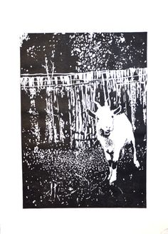 Koza, Martyna Bocheńska, linoryt, 44 x 31 cm