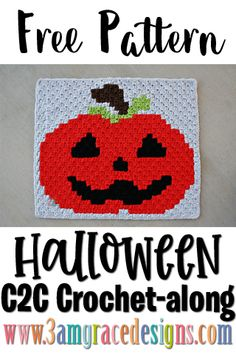 Our free Pumpkin crochet pattern & tutorial allows you to create a graphgan blanket for Halloween! Perfect for a home decoration or lapghan. Crochet C2c Pattern, Crochet Placemat Patterns, Knitted Flower Pattern, C2c Crochet Blanket, Halloween Crochet Patterns, Crochet Afgans, Knitted Flowers, Crochet Pumpkin, Crochet Fall
