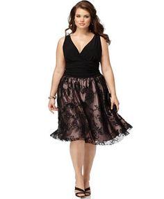 SL Fashions Plus Size Dress, Sleeveless Ruched Empire Waist A-Line