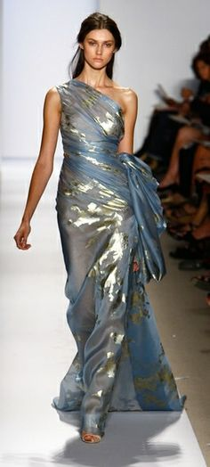 Reem Acra sheer blue gold metallic dress greek roman style fantasy fashion #UNIQUE_WOMENS_FASHION