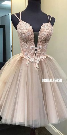 Elegant Spaghetti Straps Tulle A-line Applique Cross Back Homecoming Dress, BW3947#homecoming #homecomingdresses #2020homecoming #homecomingdress Shrug For Dresses, Tight Dresses, Dance Dresses, Sexy Dresses, Dresses For Work, Prom Dresses, Wedding Dresses, Short Dresses, Ladies Dresses