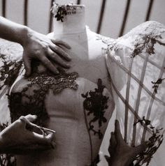 Backstage at alexander mcqueen spring/summer 2007 - Oh how I adore this dress...     Completely and utterly amazing.