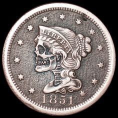 1851 Large Cent Hobo Nickel Skull Seth Basista Hand Carved Coin Art Engraved…