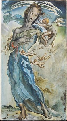 The Madonna by Salvador Dali, oil on canvas, 1943 Madonna, Salvador Dali Paintings, Les Religions, Spanish Artists, Great Paintings, Art Archive, Art For Art Sake, Our Lady, Figure Painting