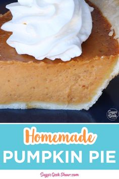 No eggs, no milk, no butter, this Vanilla Crazy Cake are great for people with food allergies. Also called Wacky Cake or Depression Cake, this recipe is a quick and delicious way to satisfy our sweet tooth. Save this easy awesome recipe! Classic Pumpkin Pie Recipe, Fresh Pumpkin Pie, Pumpkin Pie From Scratch, Easy Pumpkin Pie, Homemade Pumpkin Pie, Pumpkin Pumpkin, Pumpkin Cookies, Healthy Pumpkin, Pumpkin Pie Recipe With Canned Pumpkin