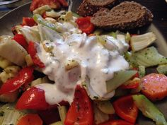 Vegetables with olive oil and tzatziki