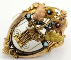 Antique C. 1860 Victorian 14k 18k Gold Turquoise Pearl Dove Nest Basket Pendant! in Jewelry & Watches, Vintage & Antique Jewelry, Fine, Victorian, Edwardian 1837-1910, Necklaces & Pendants | eBay