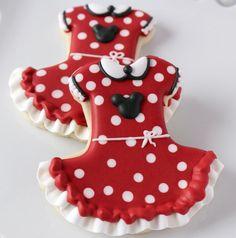 Minnie Mouse Dress Cookies - My WordPress Website Cookies For Kids, Fancy Cookies, Iced Cookies, Cute Cookies, Royal Icing Cookies, Cookies Et Biscuits, Cupcake Cookies, Sugar Cookies, Minnie Mouse Cookies