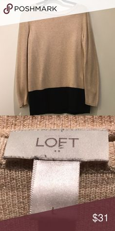 Ann Taylor LOFT Beige & Black Sweater Large Ann Taylor LOFT Large Color Blocked Sweater with Beige Upper and Black around Waist // Figure flattering, thick cotton blend that won't easily nick, and only worn a few times // perfect for work! LOFT Sweaters Crew & Scoop Necks
