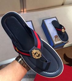 Here are some luxury slippers for the real men. They come in different styles and designs just for your outing and any other event. Gucci Slipper, Slipper Sandals, Mens Shoes Boots, Shoe Boots, Leather Sandals, Leather Boots, Nigerian Men Fashion, Mens Fashion Shoes, Men's Fashion