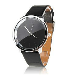 Women's Fashionable Simple Dial Black PU Band Quartz Analog Wrist Watch $5.38