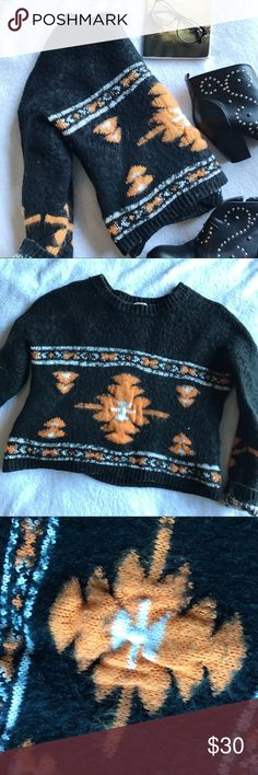 🍂☕️ Timing Vintage Crop Fuzzy Sweater Great for fall! This black white and orange vintage sweater made by timing has a thick fuzzy like material and is to be worn as a crop sweater. Would be cute with highwaisted jeans leggings or a skirt. Timing Sweaters
