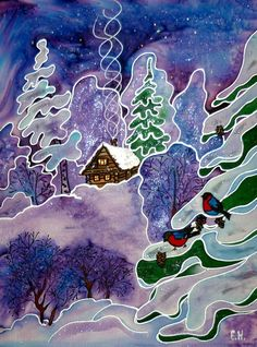 picture silk panels batik Winter's Tale silk