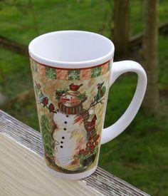 "Snowman Christmas Tree Winter Holiday 6"" Tall Coffee Mug Birdhouse Birds Holly  | eBay"