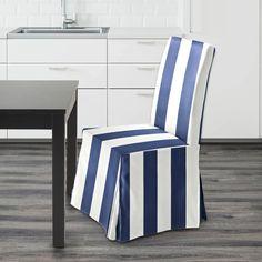 IKEA Henriksdsal Dining Chair Cover, Navy Blue Cabana Stripe   affordable, designer, custom, handmade, trendy, fashionable, locally made, high quality Ikea Dining Chair, Dining Chair Covers, Blue And White, Navy Blue, Cabana, Slipcovers, Indoor Outdoor, Cushions, Handmade