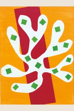 Henri Matisse (French, 1869-1954). White Alga on Orange and Red Background (Algue blanche sur fond orange et rouge), 1947.