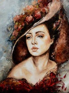 <<Painter Elżbieta Brożek # Elzbieta Brozek contemporary Polish artist, creating mostly portraits of women, prefer pictures of red and orange hues>>