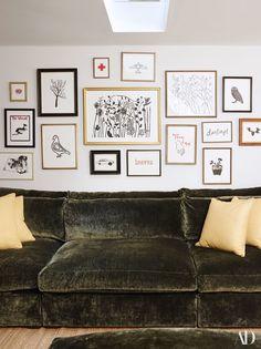 Poppy Delevingne's London Home, Hugo Guinness prints, Velvet Sofa