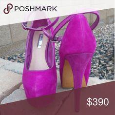 "💥 H by Halston raspberry suede pumps Gorgeous raspberry suede platform pumps in very good condition.  6"" heel, 2"" platform.  No trades. H by Halston Shoes Heels"