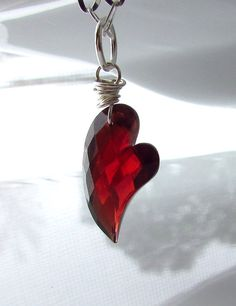 Home › TheJewelryChateau › New for Fall/Winter  Heart of Garnet Necklace, AAA Garnet Gemstone Pendant, Sterling Silver Wire Wrapped Jewelry for Valentines
