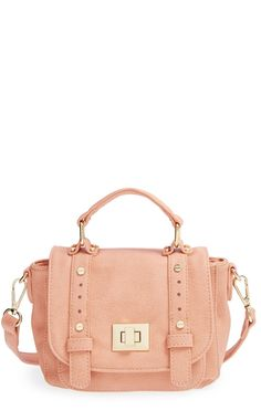 This pink vegan messenger bag is too cute.