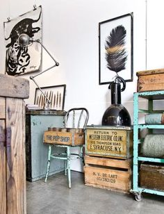 industrial / Harvest and Company, Amsterdam The Natural Home by Hans Blomquist Guilty Pleasure Outfit . Industrial Living, Industrial Interiors, Rustic Industrial, Industrial Furniture, Industrial Storage, Industrial Industry, Industrial Office, Rustic Wood, Style Deco