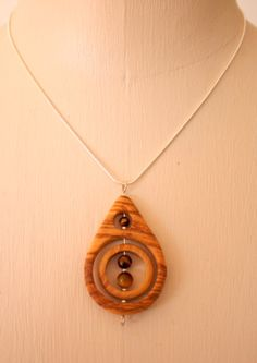 Handmade olive Wood necklace with tigers eye stones