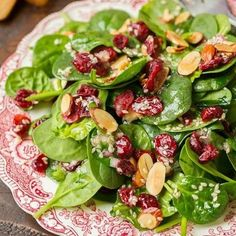 Cranberry Avocado Spinach Salad with Chicken and Orange Poppy Seed Dressing Cooking Classy, Cranberry Almond Poppy Seed Chicken Salad Vale. Avocado Spinach Salad, Spinach Salad With Chicken, Spinach Salad Recipes, Healthy Salad Recipes, Cranberry Salad, Cranberry Almond, Almond Chicken, Appetizer Salads, Fabulous Foods