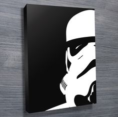 Bold black & white Stormtrooper pop art featuring a close up of the Stormtrooper.