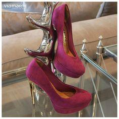 sapato de salto alto - pink high heels - dourado  - party shoes - Inverno 2015 - Ref. 15-5505