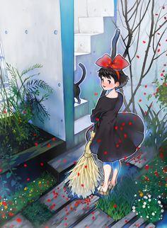 「黒は女を美しく見せるのよ 」 by 有寺-Studio Ghibli, Kiki's delivery studio, one of my favourite anime films.