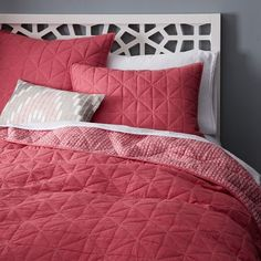 Nomad Coverlet with Euro Sham, Charcoal or dark great linen duvet cover.
