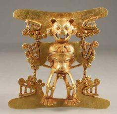 Diquis Gold Pendant of a Jaguar Deity -  Origin: Costa Rican/Panamanian Border Area Circa: 500 AD to 1550 AD