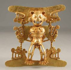 Diquis Gold Pendant of a Jaguar Deity -  Origin: Costa Rican/Panamanian Border Area Circa: 500 AD to 1550 AD