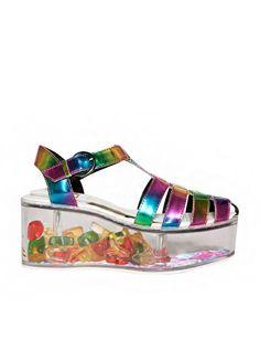 Charlii Rainbow Hologram Platform Sandals - YRU Lucite Flatforms - $158 Store your treasures!!