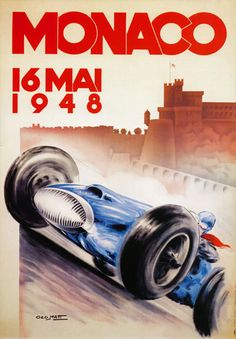 Man Cave Racing Car Monaco GP Framed Canvas Art Print Poster Retro Vintage