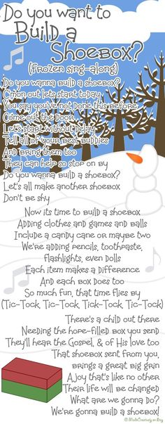 Sing-Along Song 2 | MadeCreatively | Movies and music go hand-in-hand, so what better way to express our love for Operation Christmas Child shoeboxes than with a song from the cinema! You know the tune of Frozen's 'Do You Want To Build A Snowman', so sing along as you read through our shoebox-themed lyrics!