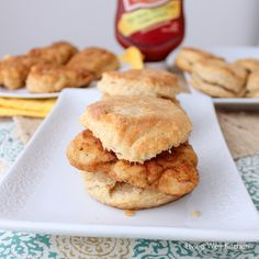 Homemade Chicken Biscuits from Living Well Kitchen; pickle juice mixed with milk to make buttermilk, Chik-Fil-A copycat