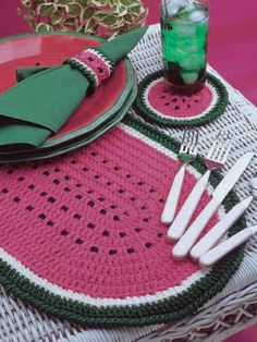Watermelon Place Mat Set: Add color to your picnic!  Place mat size: 12 x 19 inches (appx)