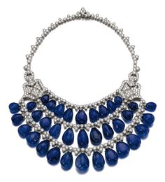 Sapphire and Diamond Necklace, Bulgari, circa 1970 -- The front of swag design supporting sapphire drops, further set with brilliant-cut diamonds Leather Necklace, Stone Necklace, High Jewelry, Gold Jewelry, Bulgari Jewelry, Luxury Jewelry, International Jewelry, Crown Jewels, Royal Jewels