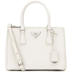 Prada Galleria Saffiano Small Leather Shoulder Bag (2,405 CAD) ❤ liked on Polyvore  featuring bags, handbags, shoulder bags, white, prada purses, leather ... 9631f15e22